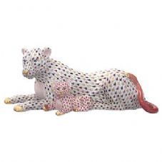 Herend Porcelain Fishnet Figurine of a Lioness and Cub - Limited Edition of 150